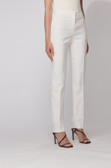 Regular-fit trousers in silk poplin, White