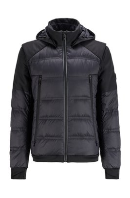 Water-repellent down jacket with detachable sleeves and hood, Black