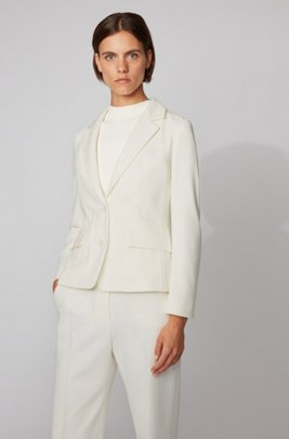 Regular-fit jacket in Italian stretch jersey, White