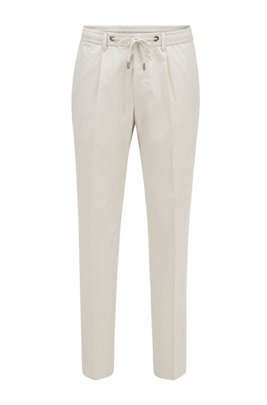 Slim-fit trousers in cotton with drawstring waist, ホワイト