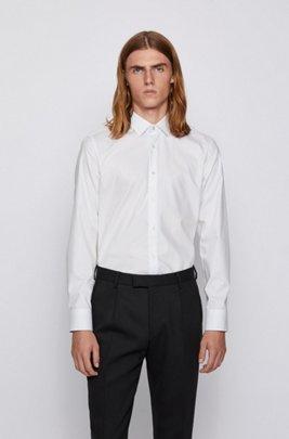 Slim-fit shirt in easy-iron Austrian cotton, White