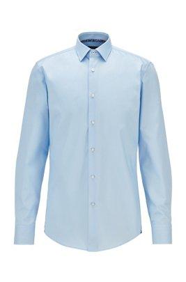 Slim-fit shirt in easy-iron Austrian cotton, Light Blue