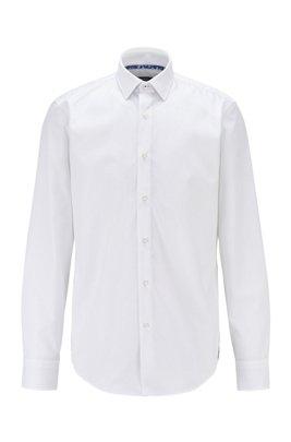 Regular-Fit Hemd aus bügelleichter österreichischer Baumwolle, Weiß