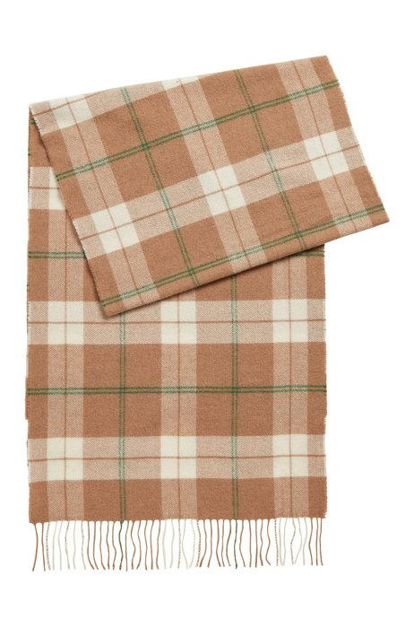 Glen-check scarf in a wool blend, Light Brown