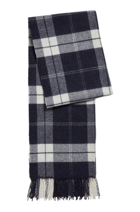 Glen-check scarf in a wool blend, Dark Blue
