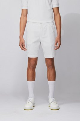 Slim-fit short van een katoenmix, Wit