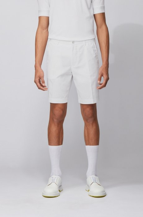 Slim-fit short van een katoenmix, Wit