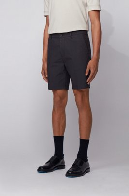 Slim-fit shorts in a cotton blend, ダークブルー