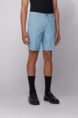 Slim-fit shorts in a cotton blend, ターコイズ