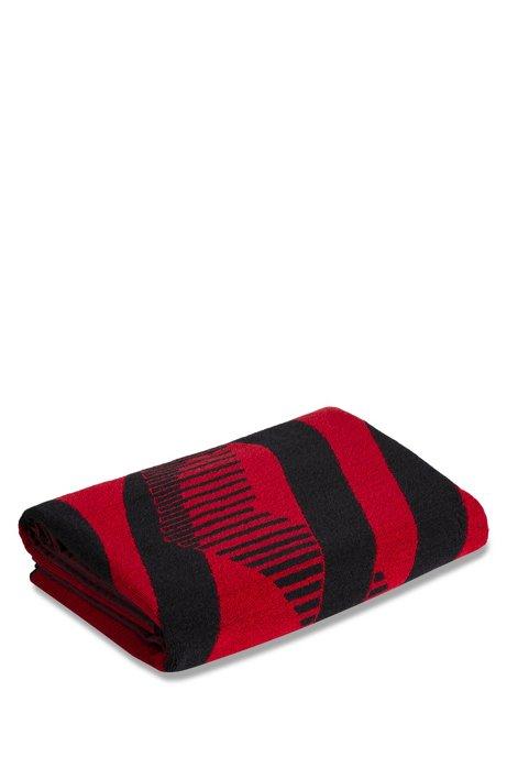 Unisex-Badetuch aus Baumwoll-Terry mit stilisiertem Logo, Hellrosa