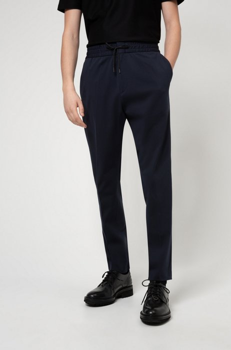 Packable extra-slim-fit pants with drawstring waist, Dark Blue