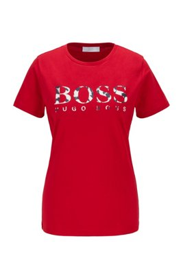 Logo-print T-shirt in organic-cotton jersey, Red
