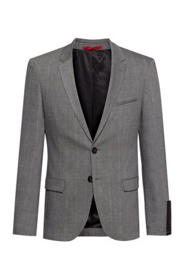 Extra-slim-fit washable jacket in a wool blend, Silver