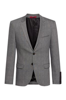 Wasbare extra slim-fit jas van een wolmix, Zilver