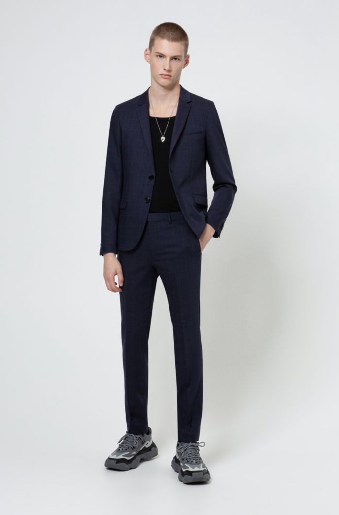 Extra-slim-fit washable jacket in a wool blend