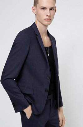 Extra-slim-fit washable jacket in a wool blend, Dark Blue