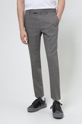 Extra-slim-fit trousers a performance wool blend, Silver
