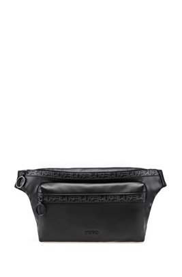 Faux-leather belt bag with HUGO '93 zip tape, Black