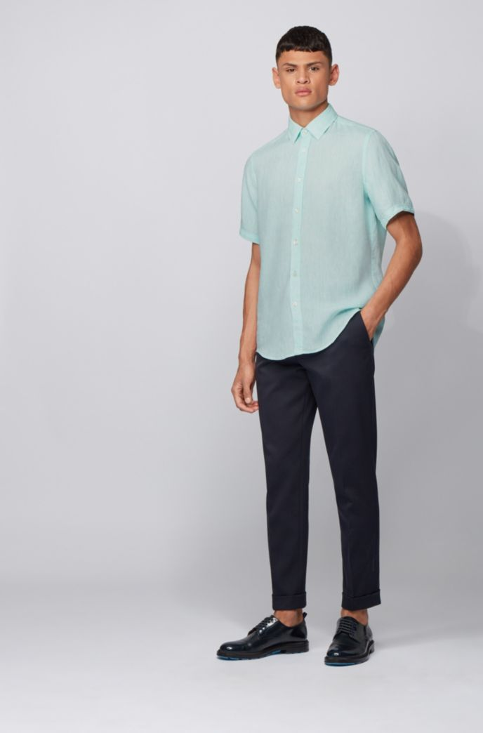 Regular-fit shirt in linen chambray
