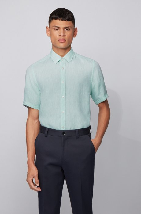Regular-fit shirt in linen chambray, Light Green