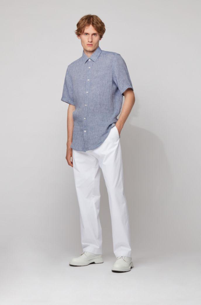Regular-fit shirt in linen chambray