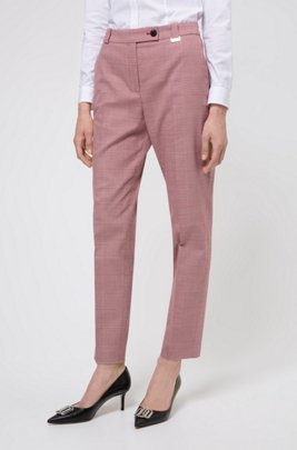 Regular-fit cropped trousers in Glen-check stretch fabric, Light Red