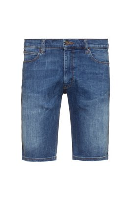 Slim-fit shorts in washed stretch denim, Blue