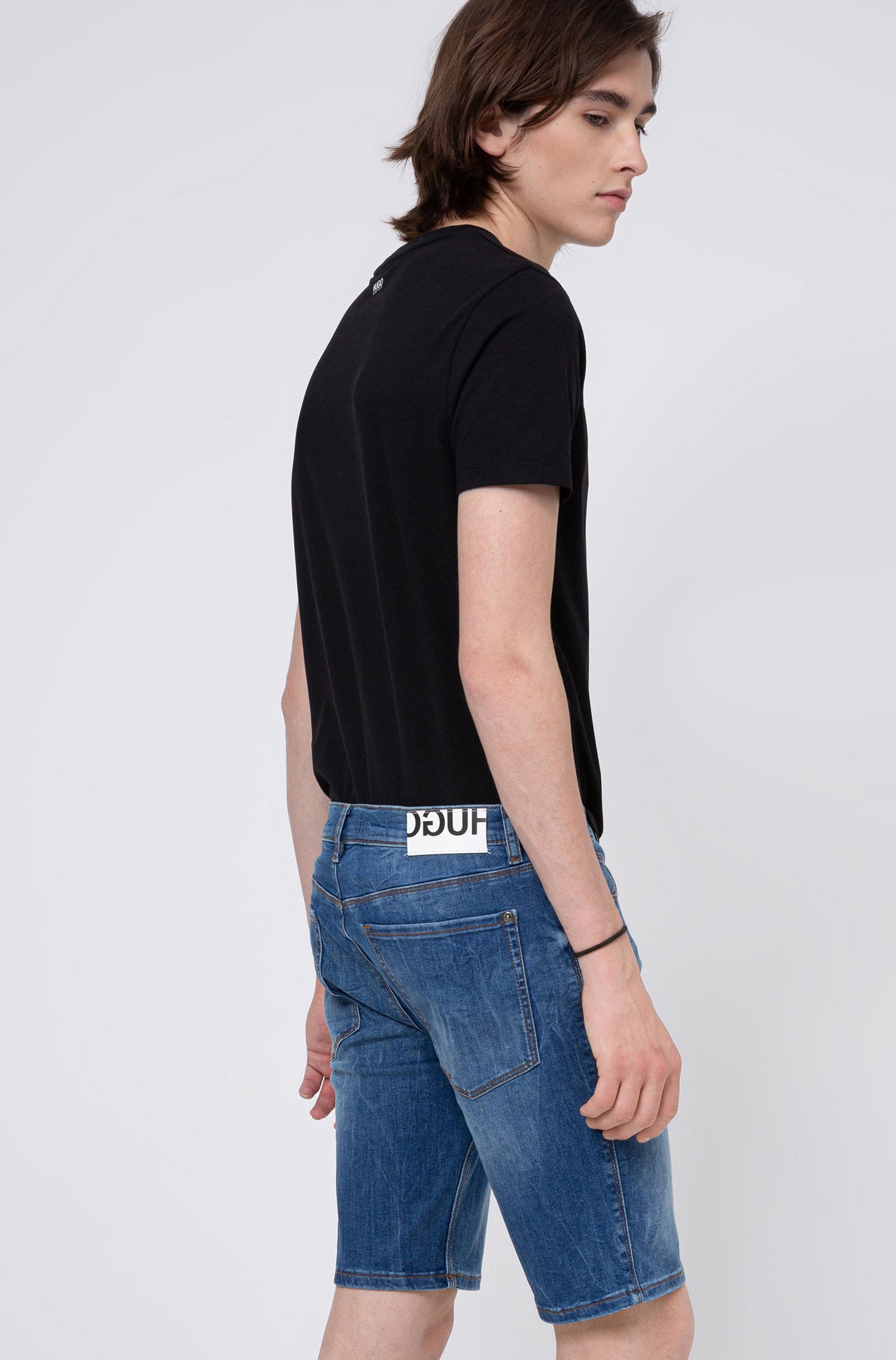 Slim-fit shorts in washed stretch denim