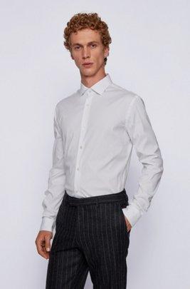 Extra-slim-fit shirt in stretch poplin, White