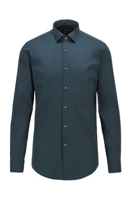 Extra-slim-fit shirt in stretch poplin, Dark Green