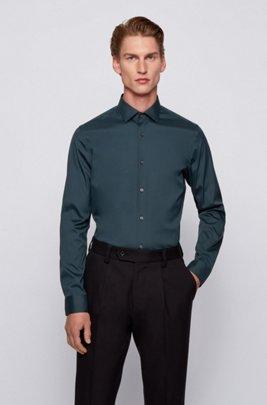 Extra-slim-fit shirt in stretch poplin, Dark Green