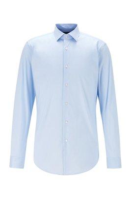 Extra Slim-Fit Hemd aus elastischer Baumwoll-Popeline, Hellblau