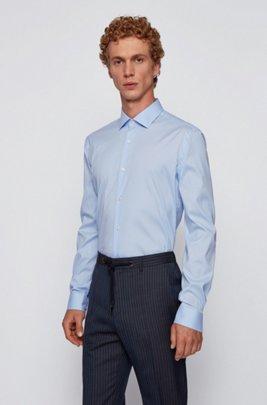 Extra-slim-fit shirt in stretch poplin, Light Blue