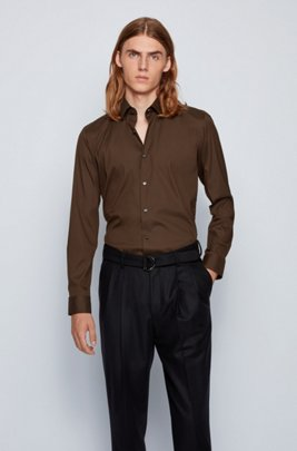Slim-fit shirt in cotton-blend stretch poplin, Light Green