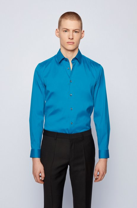 Slim-fit shirt in cotton-blend stretch poplin, Turquoise