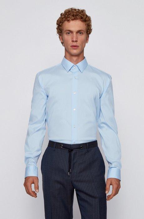Slim-fit shirt in cotton-blend stretch poplin, Light Blue
