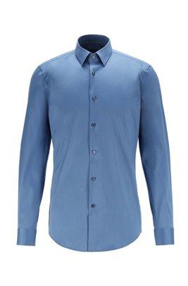 Slim-fit shirt in cotton-blend stretch poplin, Blue
