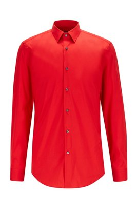 Slim-fit shirt in cotton-blend stretch poplin, Red