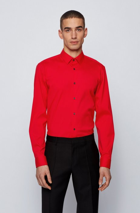 Slim-fit shirt in cotton-blend stretch poplin, Red