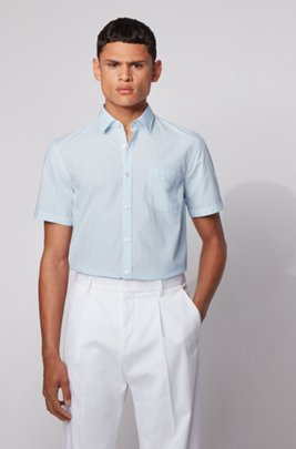 Short-sleeved slim-fit shirt in patterned dobby cotton, ホワイト