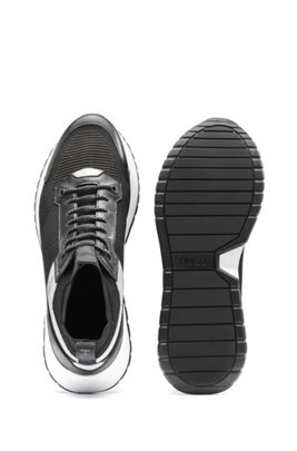 Gestrickte Sock-Sneakers mit Leder-Details, Schwarz