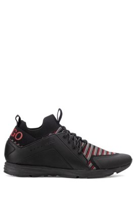 Running-inspired sock trainers with stripe detailing, Black