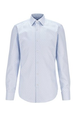 Gepunktetes Slim-Fit Hemd aus Baumwolle mit Aloe-vera-Finish, Hellblau