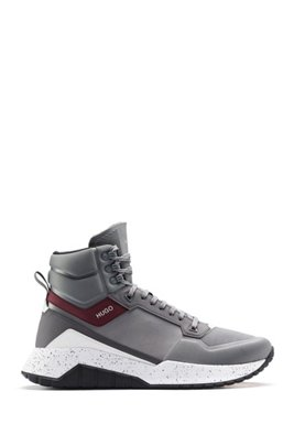 High-top trainers with hiking-inspired lacing system, Grey