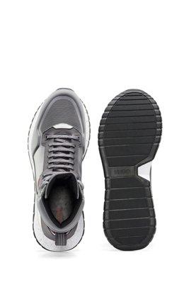 Hightop Sneakers mit Schnürung im Wanderschuh-Stil, Grau