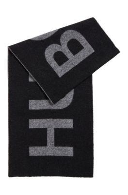 Sjaal van een Italiaanse wolmix met statementlogo, Zwart