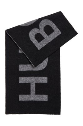 Italian-wool-blend scarf with statement logo, Black