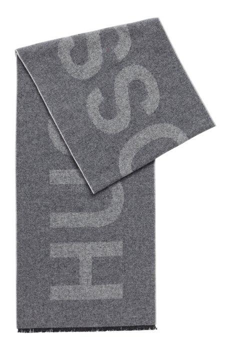Schal aus italienischem Woll-Mix mit Statement-Logo, Grau