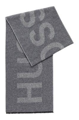 Italian-wool-blend scarf with statement logo, Grey