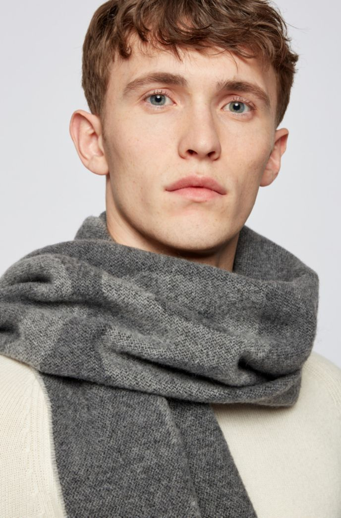Italian-wool-blend scarf with statement logo